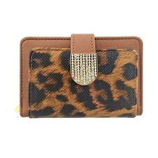 Da Donna Leopardo Animal Print in finta pelle porta carte di credito Portafoglio Donna Borsa