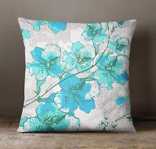 S4Sassy Aqua Blue Floral Print Decorative Square Cushion Cover Pillow Case