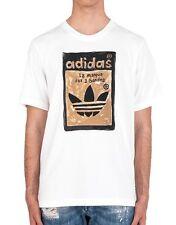 Hombre Nuevo Adidas Originales Logotipo Gráfico Camiseta Top-Blanco-de estilo vintage y retro