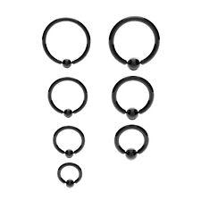 BLACK Ball Closure Captive Ring BCR, Lip Nose Ear Tragus Septum Ring