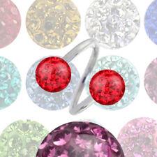 1,2mm Piercing Schmuck Body Spirale mit Epoxy rundum Kristallkugel 3mm oder 4mm