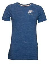 Nike Women's Vintage Gym Short Sleeve Crew Kangaroo Pocket Heather Blue Shirt