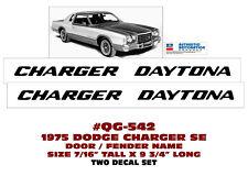 QG-542 1975 DODGE CHARGER DAYTONA - DOOR/FENDER DECAL SET - 2 DECALS - LICENSED