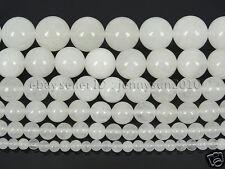 "Natural White Jade Gemstone Round Beads 15"" 4mm 6mm 8mm 10mm 12mm 14mm"
