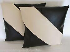 "2 Black & Cream Diagonal Stripe Faux Leather Cushion Covers 16"" 18"" 20"" Pillows"