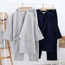 Mens Kimono Pajamas Set Warm Yukata Nightwear Japanese Tops Pants Sleepwear