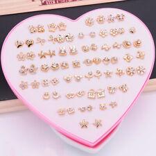 36 Pairs Earrings Studs Fashion Women Girls Rhinestone Flower Stud Jewelry Set