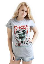 Laika el espacio Perro Camiseta japonés para mujer Ciencia Retro Urss Kawaii Sputnik