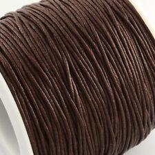 Cordón de Algodón Encerado Hilo 1mm Marrón Oscuro para Pulsera de abalorios para collar