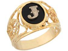 10k or 14k Yellow Gold Onyx Letter J Modern Ladies Filigree Initial Ring