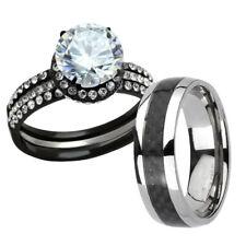 His Hers 4 Pc Black Stainless Steel & Titanium Wedding Engagement Ring Set cf