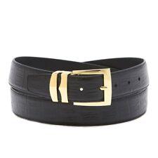 Bonded Leather Belt HORNBACK Pattern Solid Colors Gold-Tone Buckle XL Sizes