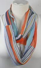 Infinity scarf, beautiful pattern,orange or peach color theme, chiffon, handmade