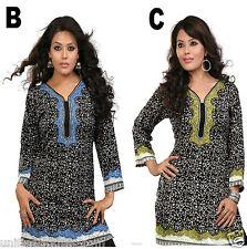 UK sizes(8-24) Women Fashion Indian Short Kurti Tunic Kurta Top Shirt Dress40B&C