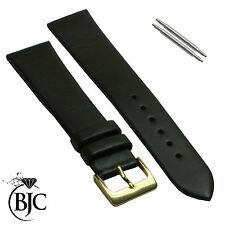 BJC Marrón Oscuro Correa Para Reloj De Cuero Genuino en Múltiple Anchuras & Pins