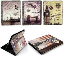 Pour ipad 2-3-4 Rétro Vintage Vieux Classique Livre Cuir Etui Housse bâtiments monde