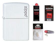 ZIPPO Feuerzeug White Matte Logo weiß matt mit oder ohne Zubehör nach Wahl NEU