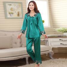 Damen Silk Satin Pyjama Set Nachtwäsche Robes Nachthemd Nachthemd#P168 L,XL,XXL
