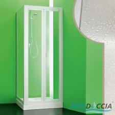 BOX DOCCIA CABINA ANGOLARE ANTA A LIBRO SOFFIETTO IN PVC CRILEX ACRILICO BIANCO