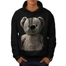 Wellcoda Cute Plush Mens Hoodie, Teddy Bear Casual Hooded Sweatshirt