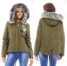 NEW Womens Hooded Faux Fur Parka Coat Ladies Khaki Jacket Size 8 10 12 14 16