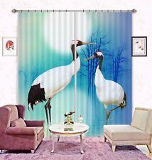 3D White Crane Moon 6 Blockout Photo Curtain Curtains Drapes Fabric Window CA