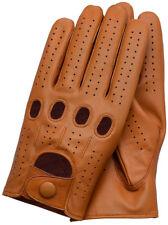 Riparo Genuine Leather Full-Finge Leather Driving Gloves - Cognac