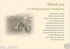 THANK YOU - WEDDING PHOTOGRAPHER  (laminated gift)