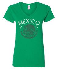 Mexico 1986 El TRI Soccer Women's V-Neck T-Shirt NEW