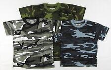 Chicos Niños Childrens Ejército Camo Camuflaje Camiseta de manga corta camisetas verde