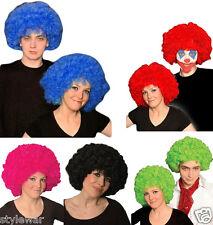 NUOVO Adulti Ricci Arcobaleno Afro Calcio Costume Parrucca Funky Disco Clown Costume