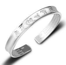 Lady men Jewelry 925 Sterling Silver Round Bangle Bracelet Open Cuff Lovers Poison