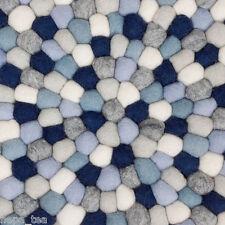 Pom Pom Hay Rugs Multicolored 100% Wool Carpet Felt Balls Nursery Mat Round