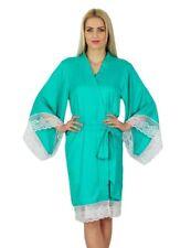 Bimba Women Lace Kimono Sleeve Short Satin Robe Getting Ready Bides Robe Coverup