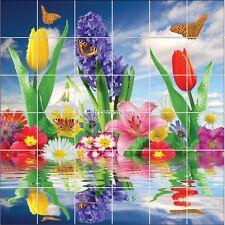 Stickers carrelage mural déco Fleurs et papillons 1881
