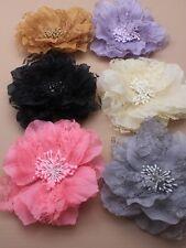 grande encaje y flor de tela en un PLATA Tridente Enganche clip. rosa / LILA /