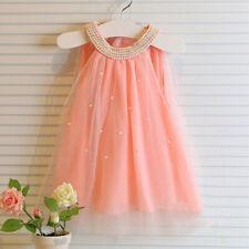 Mädchen Kleid Hochzeitkleid Festkleid Prinzessin Chiffon Kleid Perlen   NEU