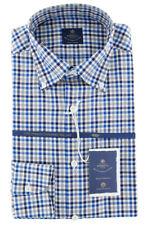 New $600 Luigi Borrelli Blue Shirt - Extra Slim - (EV06RC411870)