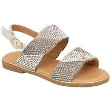 Girls Diamante Flat Sandals Kids Open Toe Shoes Strap Evening Summer Fashion New