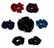 Diamante Velvet Hair Scrunchie Bobble with Sparkly Crystal Border Colour & Black