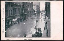 PITTSBURGH PA 1907 Flood Sixth Street Boats in Street Antique B&W Postcard Vtg