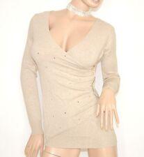 MAGLIONE BEIGE MAGLIETTA donna manica lunga maglia scollo V zip oro pullover Z1