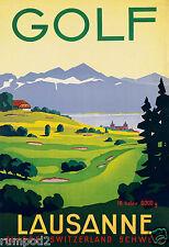 VintageTravel Poster- Golf Poster - Lausanne Golf Course / Switzerland 18 Holes