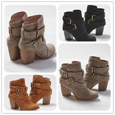 Women Winter Warm Shoes Mid Heel Short Ankle Boots Heels Boot Martin Snow Botas