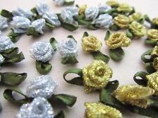 100 Metallic Ribbon Rose Flower+Satin Leaf/Craft/Trim F59-Gold/Silver Pick Color