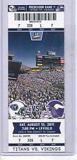 Minnesota Vikings Tennessee Titans 8/13/11 Full Unused NFL Football Game Ticket