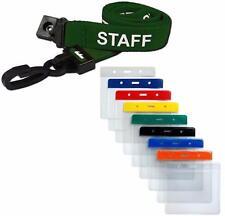 STAFF Lanyard Neck Strap Green & Small Flexible Wallet ID Card Pass Holder