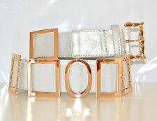 CINTURA donna stringivita pelle argento elastica elegante oro CERIMONIA belt 70C