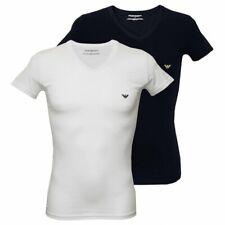 Emporio armani lot de 2 stretch coton v-cou t-shirts hommes, blanc/bleu marine