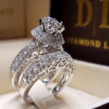 Wedding 2pcs/set Bride Jewelry White Topaz 925 Silver Ring Size 5-11 Anniversary